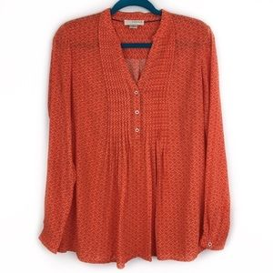 Kenar Orange V Neck Pleated Popover Blouse